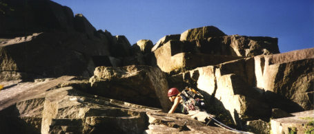 Working through the overhangs on Stromboli (HVS), Tremadog