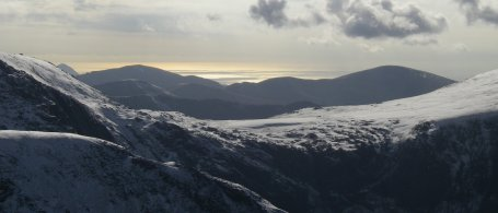 View from the summit of Tryfan on a mountaineering course